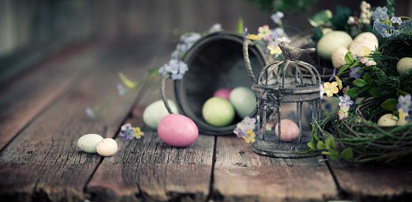Easter Basket「Rustic Easter Background」:スマホ壁紙(14)