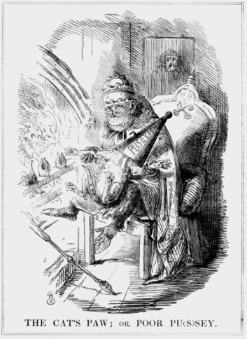 Cartoon「Monkey as Pope putting cat's paw into fire」:スマホ壁紙(8)