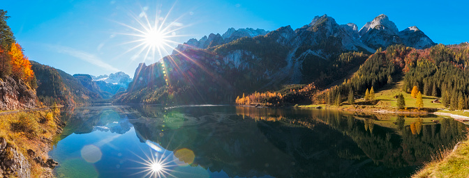 Dachstein Mountains「Gosausee with Glacier Dachstein in back - Nature Reserve Austria」:スマホ壁紙(4)