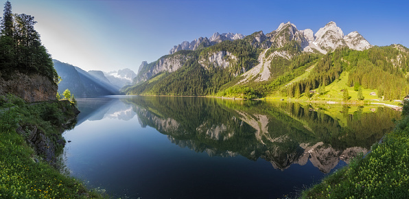 Dachstein Mountains「Gosausee with Glacier Dachstein in back - Nature Reserve Austria」:スマホ壁紙(5)