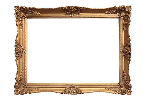 Gold Colored「Empty gold ornate picture frame with white background」:スマホ壁紙(1)