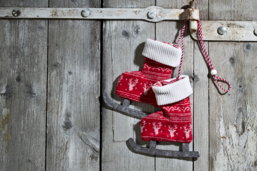 Skate - Sports Footwear「Pair of decorative textile ice skates hanging on wooden door」:スマホ壁紙(9)