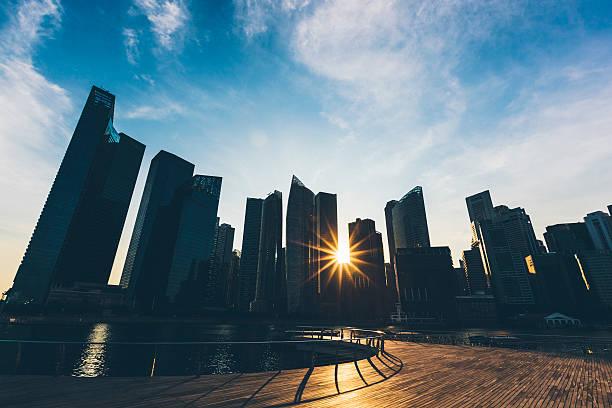 Singapore, Marina Bay, Buildings at sunset:スマホ壁紙(壁紙.com)