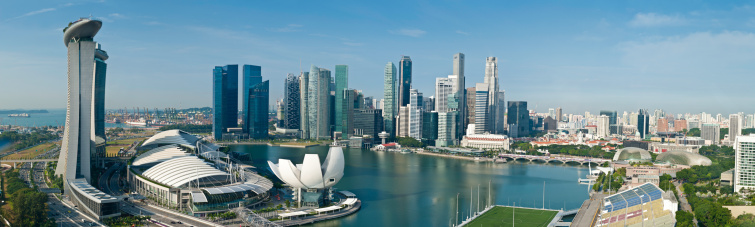 Footbridge「Singapore Marina Bay aerial cityscape panorama」:スマホ壁紙(9)
