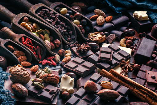 Chestnut - Food「Assorted chocolate, nuts and dried fruit in old fashioned style」:スマホ壁紙(7)