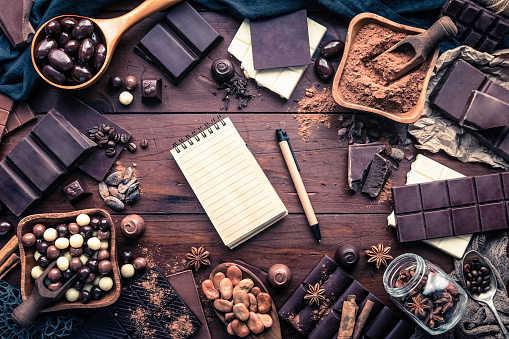 Recipe「Assorted chocolate, nuts and dried fruit making a frame around note pad with pencil in old fashioned style」:スマホ壁紙(12)