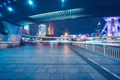 Footbridge「night downtown cityscape of shanghai」:スマホ壁紙(16)