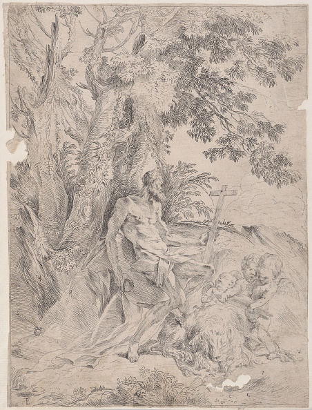 Etching「Saint Jerome Before A Crucifix Accompanied By A Lion And Three Putti」:写真・画像(4)[壁紙.com]