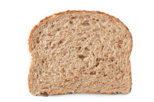 Loaf of Bread「multiple grain bread slice with clipping path」:スマホ壁紙(6)