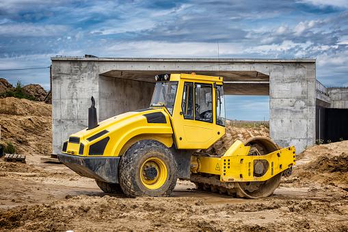 West Pomeranian Voivodeship「Yellow roadroller in place of future highway S6, Koszalin, Poland」:スマホ壁紙(16)