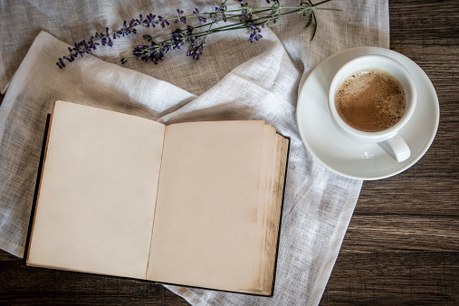 Coffee「Stilllife with old book, cup of coffee, lavender and cloth」:スマホ壁紙(14)