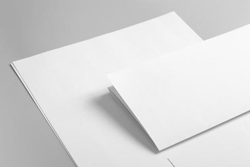 Business Card「Blank basic stationery. Letterhead flat and folded, business card.」:スマホ壁紙(12)