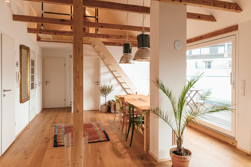 Roof Beam「Spacious living room with wooden floor」:スマホ壁紙(2)