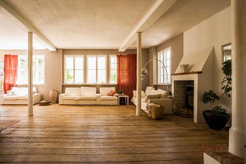 Parquet Floor「Spacious living room with wooden floor」:スマホ壁紙(17)