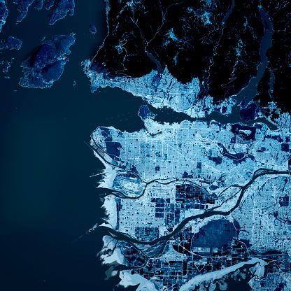 British Columbia「Vancouver City 3D Render Blue Top View Sep 2019」:スマホ壁紙(1)