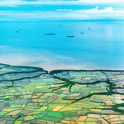 自然の模様「米に発展しつつあるエリアでコースタルプレーン、インドネシア」:スマホ壁紙(18)
