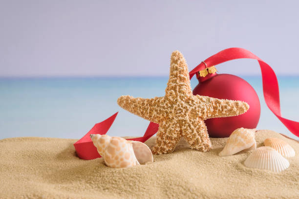 Red bauble, starfish and shells on sand:スマホ壁紙(壁紙.com)