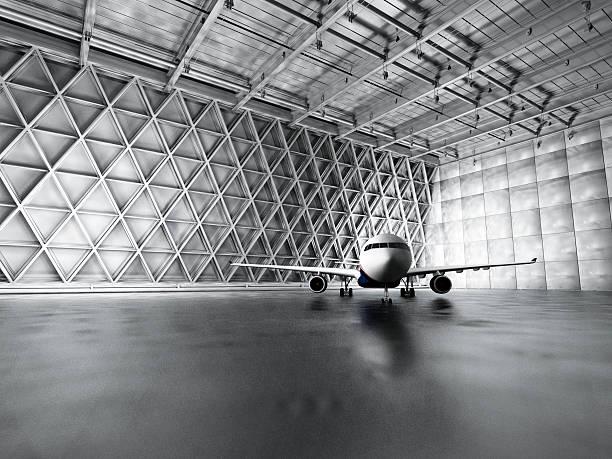 Hangar, garage, warehouse with passenger airplane:スマホ壁紙(壁紙.com)