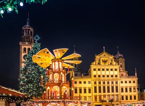Market Stall「German Christmas Market - Christkindlesmarkt Augsburg at night」:スマホ壁紙(8)