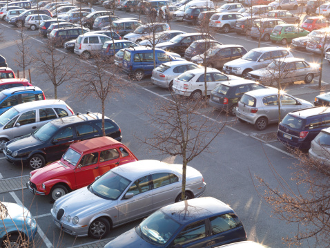 Piedmont - Italy「Nearly packed car lot, with vintage red citroen」:スマホ壁紙(10)