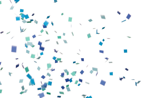 Turquoise Colored「Blue and Green Confetti Falling, Isolated on White」:スマホ壁紙(2)