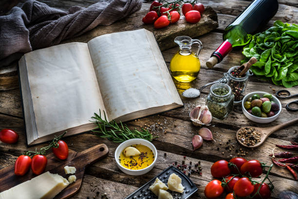 Mediterranean ingredients, spices and spices on rustic table:スマホ壁紙(壁紙.com)