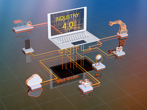 Internet of Things「Industry 4.0 digital technology 3d concept. Group of icons.」:スマホ壁紙(17)