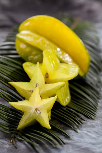 Starfruit「Star fruit slice on palm leaf, close up」:スマホ壁紙(12)