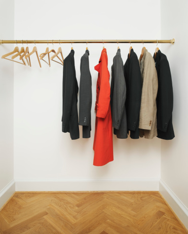 Coat - Garment「Red coat amongst suit jackets on hangers」:スマホ壁紙(19)