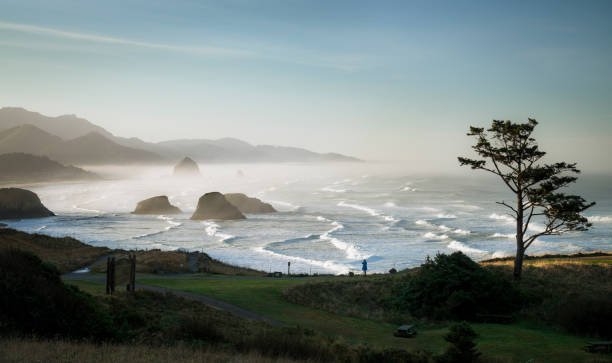 USA, Oregon, Cannon Beach at sunrise:スマホ壁紙(壁紙.com)