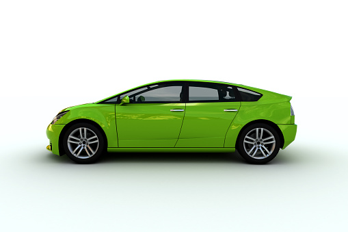 Hybrid Vehicle「A bright green hatchback family car」:スマホ壁紙(9)
