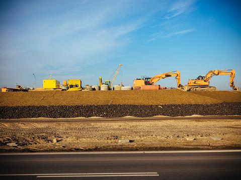 Earth Mover「Germany, Hamburg, construction machines at roadworks」:スマホ壁紙(18)