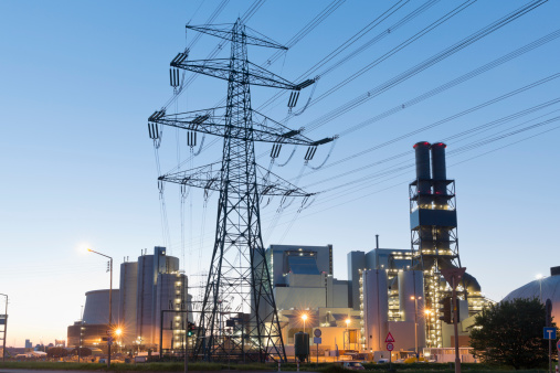 Electricity Pylon「Germany, Hamburg, Coal-fired Power Plant Moorburg in the evening」:スマホ壁紙(9)