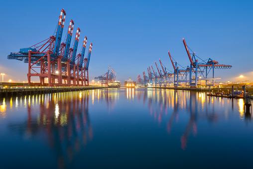 Crane - Construction Machinery「Germany, Hamburg, Port of Hamburg, Container Terminal in the morning」:スマホ壁紙(18)