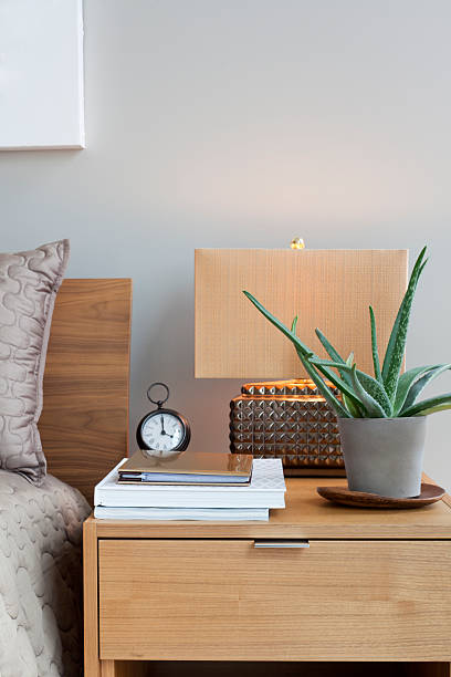 Wooden bedside table with a lamp, plant, clock, and papers:スマホ壁紙(壁紙.com)