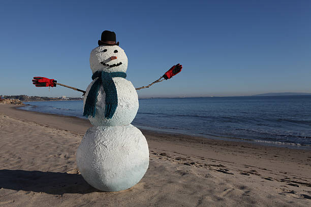 Snowman on the beach with winter hat and gloves. :スマホ壁紙(壁紙.com)