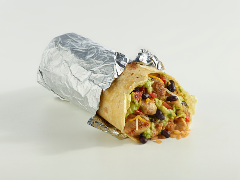 Tortilla Dish「Wrapped Chicken Burrito on white」:スマホ壁紙(3)