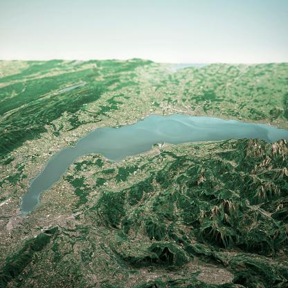Vaud Canton「Lake Geneva 3D Render Horizon Aerial View From South Jun 2019」:スマホ壁紙(18)