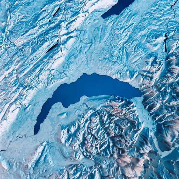 Lake Geneva 3D Render Satellite View Topographic Map Blue:スマホ壁紙(壁紙.com)