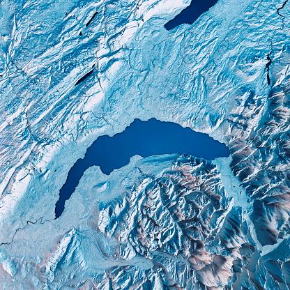 European Alps「Lake Geneva 3D Render Satellite View Topographic Map Blue」:スマホ壁紙(11)