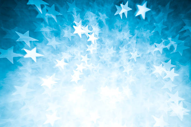 Blurred blue star shape lights:スマホ壁紙(壁紙.com)