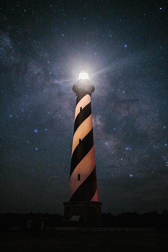 Beacon「USA, North Carolina, Cape Hatteras Lighthouse under The Milky Way」:スマホ壁紙(0)