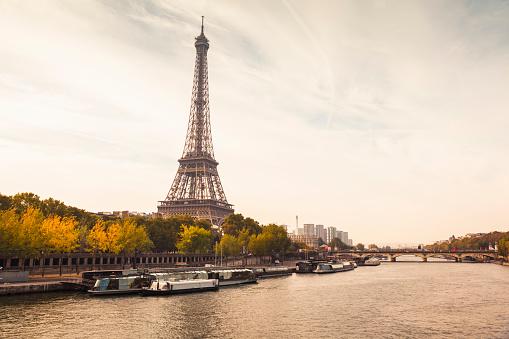 France「Autumnal Paris with Eiffel Tower and Seine River (Paris, France)」:スマホ壁紙(15)