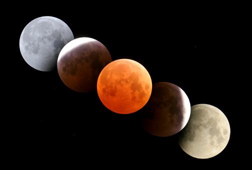 皆既月食「October 27, 2004 - Digital composite of total lunar eclipse taken from Alberta, Canada.」:スマホ壁紙(5)