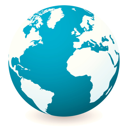 Vector「Blue illustrated globe with shadow and white land and ocean」:スマホ壁紙(15)