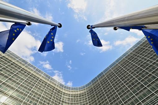 City of Brussels「EU flags outside European Commission building in Brussels」:スマホ壁紙(13)