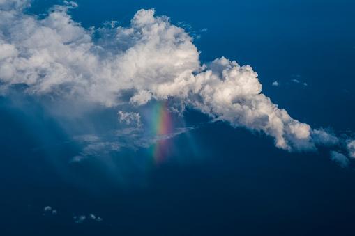 Iris - Eye「Clouds and rainbow seen through an airplane window」:スマホ壁紙(10)