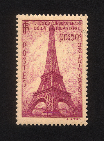 French Culture「Eiffel Tower stamp」:スマホ壁紙(8)