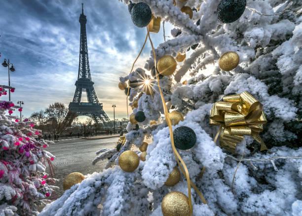 Eiffel Tower and decorated Christmas trees, Paris, France:スマホ壁紙(壁紙.com)
