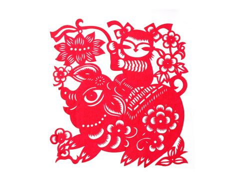 Chinese Lantern「Paper-cutting of child and pig」:スマホ壁紙(13)